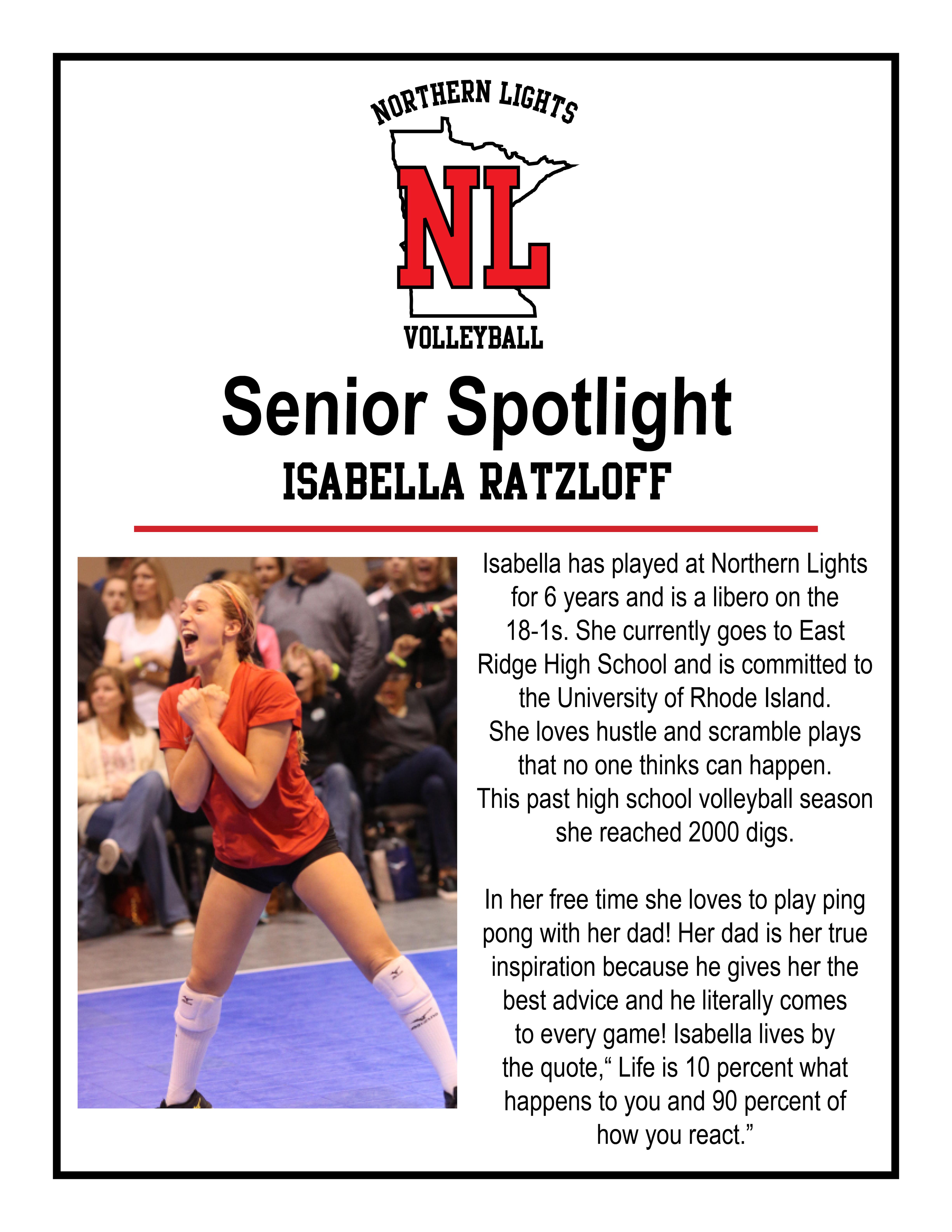 Senior Spotlight Isabella Ratzloff Northern Lights Junior Volleyball
